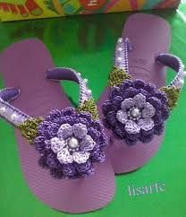 Resultado de imagen para sandalias havaianas decoradas croche