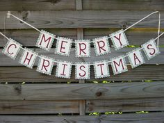 Merry Christmas Banner Holiday Decoration by craftyearth on Etsy
