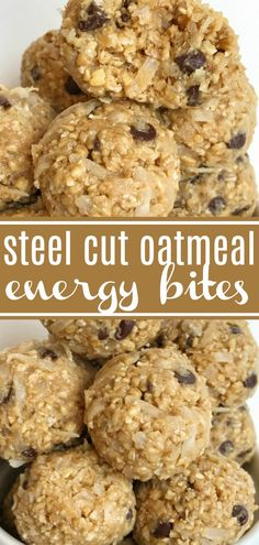 Steel Cut Oatmeal Energy Bites | Steel Cut Oat Energy Balls are an easy, 5 ingredient healthy snack. Steel cut oats, honey, peanut butter, chocolate chips, and coconut. Energy bites are the perfect afternoon snack. #healthyrecipe #snack