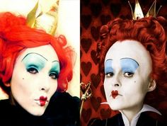 Queen of Hearts (Alice In Wonderland) Make-up (by kandee) Halloween Queen Of Hearts Makeup, Queen Of Hearts Alice, Queen Of Hearts Costume, Creepy Halloween Makeup, Disney Halloween, Halloween Fun, Halloween Costumes, Halloween Projects, Alice In Wonderland Characters