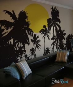 Vinyl Wall Decal Sticker Tropical Night Sunset from StickerBrand. Saved to Decals. Palm tree ... & Palm Tree And Birds Set Vinyl Wall Art Wall Decal Wall Tattoo | For ...