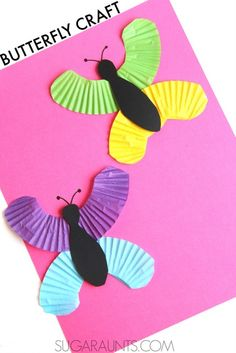 Butterfly cupcake liner craft. This is easy and cute for Spring!