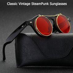 380b40e479a New Vintage Round Retro SteamPunk Sunglasses