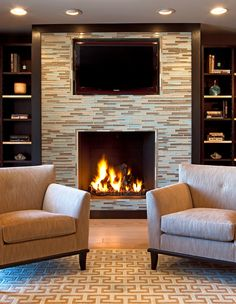 Bruce Palmer Design Studio - Interior Designer - Delaware - Contemporary - Living Room - Neutrals - Wood Floor - Fireplace - Bookshelves - Shelves - Decor - Display - Books - Rugs - Upholstered Chairs