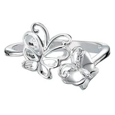 A sterling silver ring with two butterflies; one is an open work butterfly that is connected to a solid butterfly. Regularly $39.99, buy Avon Jewelry products online at eseagren.avonrepresentative.com