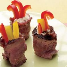 Throw a healthier dinner party with this easy appetizer recipe of roast meat wrapped peppers.
