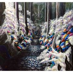 【godo_terasawa】さんのInstagramをピンしています。 《こないだの個展での新作たち⑤ title :  KODOU#5 (於 熊野古道、大門坂) size:F8 (380×455mm) Acrylic on canvas, 2017  #terasawart #寺澤晋吾展 #絵 #絵画 #美術 #アクリル #創作 #アート #アクリル画  #森 #森林 #樹 #forest #tree #acrylic #colors  #acrylicpainting #painter #art #fineart #artwork #ancient #熊野古道 #kumano #kumanokodo #熊野 #大門坂 #気 #chi》