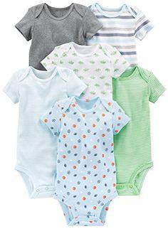 Simple Joys by Carter's Baby Boys 6-Pack Short-Sleeve Bodysuit, Blue/Grey, Preemie. For product info go to: https://all4babies.co.business/simple-joys-by-carters-baby-boys-6-pack-short-sleeve-bodysuit-bluegrey-preemie/