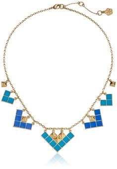 """Trina Turk The Explorer Gold Plated Blue Enamel Mosaic Collar Necklace, 18"""". Gold-plated necklace featuring square grid stations in mosaic shades. 18"""" cable chain with lobster-claw clasp. Made in China."""