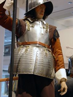 Leeds Armouries Pike Armour  Pikeman's Armour. Dutch about 1630-40.  It is of superior quality with pairs of  engraved lines and brass fittings and  rivets.