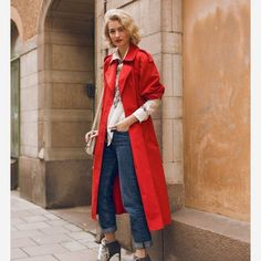 Spotted while shopping on Poshmark: PM EDITOR SHARED DKNY - Red Trench Jacket w/belt! #poshmark #fashion #shopping #style #DKNY #Jackets & Blazers