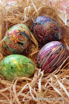 "Melted Crayon Easter Eggs. Shave up broken crayon bits onto a paper plate.  Then roll a still-warm boiled egg on it. You can add texture with toothpicks by dragging them through the wax.  Also you can add glitter while the wax is still ""wet""."