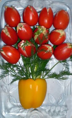 edible bouquet - tulips out of tomatoes