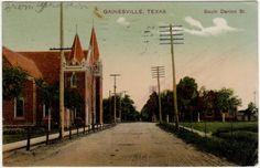 Postcard South Denton Street in Gainesville Texas | eBay