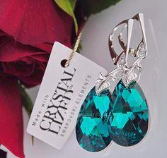 Ebay-jewellerymw-EARRINGS SWAROVSKI Elements ALMOND BLUE ZIRCON CAL 22mm STERLING SILVER 925-$17.28