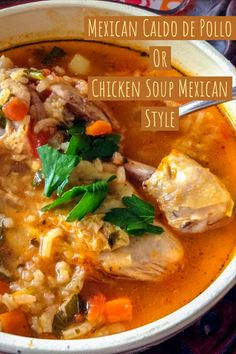 Mexican Caldo de Pollo Or Chicken Soup Mexican Style is a beautiful recipe of heart warming soup that will make you and your family very happy. The combination of simple ingredients, the rice, the cilantro and the chicken drumsticks make the soup a c Authentic Mexican Recipes, Mexican Soup Recipes, Albondigas Soup Recipe Mexican, Chicken Rice Soup, Chicken Soup Recipes, Easy Chicken Caldo Recipe, Mexican Chicken Soups, Mexican Chicken And Rice Soup Recipe, Chicken Ideas