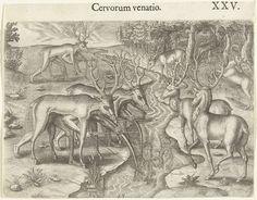 Theodor de Bry | Indianen maken jacht op herten, Theodor de Bry, Johann Theodor de Bry, 1591 | Hertenjacht volgens de tactiek van de Indianen. Verscholen onder hertenvellen wachten de Indianen gewapend met pijl en boog bij een beekje. Door de weerspiegeling in het water kunnen ze herkennen wanneer de herten in de buurt zijn.