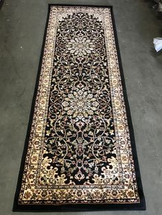 Traditional Persian Runner Area Rug Black Design 603 (31 inch X 7 feet 2 inch)