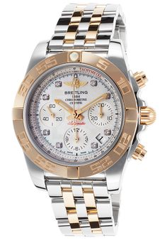 Breitling Watches,Men's Chronomat 41 Auto Diamond SS and Rose-Tone Gold MOP Dial, Luxury Breitling Automatic Watches Mens Watches For Sale, Luxury Watches For Men, Cool Watches, Rolex Watches, Dream Watches, Breitling Chronomat, Authentic Watches, Beautiful Watches, Boutique