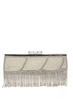 a good people lcolette Pearls And Rhinestones Accented Evening Clutch With Strap 15775