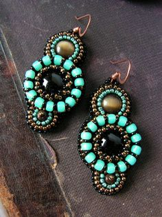 Beaded Earrings Onyx Cats eye cabochons Black by MisPearlBerry, $42.00