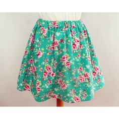Summer Mini Skirt Floral Rose Print English Vintage Rose Shabby Chic... ($38) ❤ liked on Polyvore