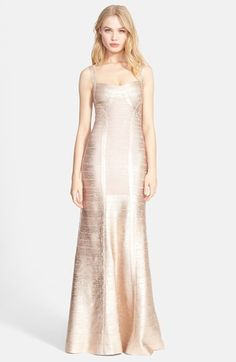 Herve Leger Foiled Mermaid Bandage Gown available at #Nordstrom