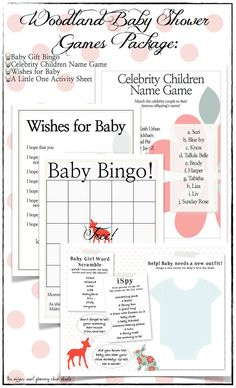 Woodland Unisex Baby Shower Game Package  DIY by TheAffairShop