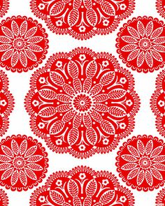 """Peer through a kaleidescope at the garden to see these stunning large scale medallions filled with lacey leaves and blossoms in this visually exciting print. Crisp tonal shades that bring to mind the freshness of spring and summer, this design is a wonderful combination of artistic ornament and versatile blender. Larger flowers are about 5 3/4"""", 'Tonal Kaleidoscope' from the 'Gypsy Bandana' collection by Pillow & Maxfield for Michael Miller Fabrics."""