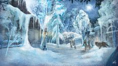 A paint-over of a screenshot from Elder Scrolls Online - stylizing one of the ingame homes, Mistveil Manor, in winter. Elder Scrolls Online, Winter House, Homes, Fantasy, Painting, Outdoor, Art, Outdoors, Art Background