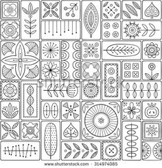 Scandinavian design tiles with floral abstractions. Patterns and ornaments with…