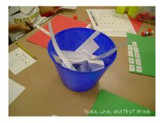 Use buckets from the dollar store to put on tables when students are doing a cutting activity, they can put their scraps in the bucket!