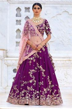 Purple Colour Ruby Silk Fabric Party Wear Lehenga Choli Comes With Matching Blouse. This Lehenga Choli Is Crafted With Embroidery. This Lehenga Choli Comes With Unstitched Blouse Which Can Be Stitched. Indian Bridal Outfits, Indian Bridal Fashion, Indian Bridal Wear, Bridal Dresses, Designer Bridal Lehenga, Bridal Lehenga Choli, Silk Lehenga, Sabyasachi Designer, Bridal Sari