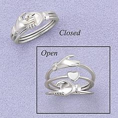 Sterling Heart in Hands Puzzle Ring
