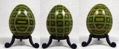 Green Geometric Square design on Duck Egg by GrnFaerieDesigns