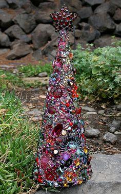 Huge Jeweled Boho Tree Encrusted Vintage Rhinestones Jewelry Crystals Christmas Tree with Star Decor Ultimate Tree Topper - Tree of Seasons