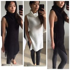 """Shop Women's Fashionomics Black Gray size Various Tunics at a discounted price at Poshmark. Description: One of my personal closet faves! Featuring a sleeveless turtleneck sweater tunic with dropped armholes and open side slits. So comfy & chic. Perfect for autumn   Styled with """"High Waisted Cut Out Knees Leggings"""". Also available in my closet.   100% Acrylic • Black, Charcoal, White  Modeling: S, True to size   PRICE FIRM, unless bundled ⟨Bundle & save ≫ One time ship..."""