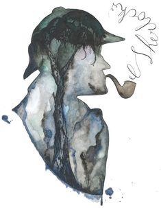 Original+watercolor+Sherlock+Holmes+by+cankerbloom+on+Etsy,+$125.00