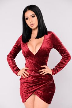 Available In Burgundy Crushed Velvet Dress Long Sleeve Gathered Sides Polyester Spandex Sexy Dresses, Cute Dresses, Fashion Dresses, Dresses With Sleeves, Midi Dresses, Red Long Sleeve Dress, Dress Long, Looks Pinterest, Fitness Video