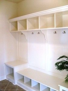 mudroom cubbies.  Like that only top portion is divided and bench is open all the way across