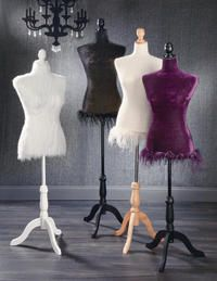 """Elegant Dress Forms  (These unique Dress Forms will flawlessly accent any fashion product.  Dresses, shirts, scarves, jackets, jewelry, the possibilities are endless.  All three forms are adjustable in height, 49""""-64"""", and feature a Styrofoam core which can support pins for attaching items to the body itself.  The black and purple Dress Forms feature velvet fabric and the cream Dress Form is made of a cotton blend fabric.    The Styrofoam core is lightweight, the attachable base is packed…"""