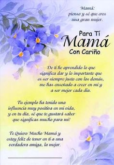 ideas for quotes happy birthday mother mom Mother Son Quotes, Mom Quotes From Daughter, Mother Poems, Happy Mother Day Quotes, Happy Quotes, Spanish Mothers Day Poems, Spanish Quotes, Happy Birthday Mother, Mama Quotes