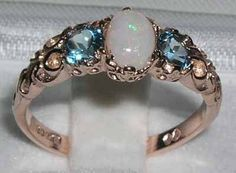 9K Rose Gold Natural White Opal & Blue Topaz Engagement Ring, English Victorian Style 3 Stone Trilogy Ring, Stackable Ring - Customizable