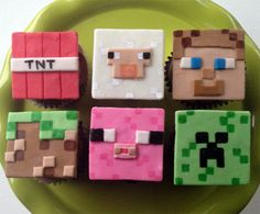 Minecraft Inspired Cupcake Toppers by CakeFreak on Etsy Minecraft Cupcake Toppers, Minecraft Cake, Minecraft Cookies, Birthday Treats, Birthday Cupcakes, School Cupcakes, Minecraft Birthday Party, Fondant Decorations, Fondant Toppers