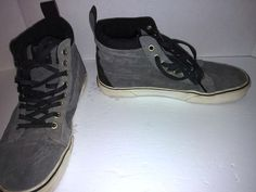 2f1501408b VANS OFF THE WALL Mens 9 Womens 10.5 Grey Suede Sneakers Shoes Mid High Top