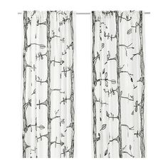 bird, curtains, window treatment, ikea eivor, laundry rooms, white, trees, black, bedroom