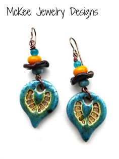 Tribal sun. Ceramic drops with glass and metal earrings.