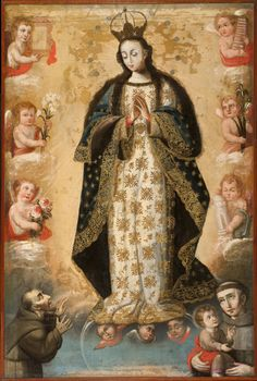 Diego Quispe Tito (Follower), The Virgin of the Immaculate Conception, with Saints Francis of Assisi and Anthony of Padua, 18th century, oil on canvas, 130 x 87 cm., Philadelphia Museum of Art, Philadelphia.