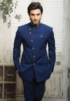 This Unique Blue Jodhpuri Suit is just one of the custom, handmade pieces you'll find in our men's suits shops. Mens Indian Wear, Mens Ethnic Wear, Indian Groom Wear, Indian Men Fashion, Mens Fashion Suits, Man Fashion, Cheap Fashion, Fashion Boots, Wedding Dresses Men Indian