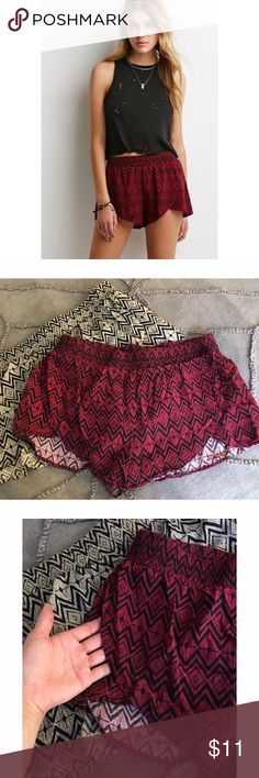 Forever 21 Diamond Print Soft Shorts Super soft and comfy shorts in red/ burgundy and black. Only worn once. I'm selling an identical pair in cream and black, feel free to request a bundle of the two or with any other item in my closet. Also feel free to make me an offer! I'm cleaning out my closet so all reasonable offers are considered 😊  🎁 Please no trades or PayPal! 🎁 Forever 21 Shorts